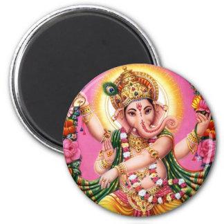 Señor Ganesha del baile Imán Redondo 5 Cm