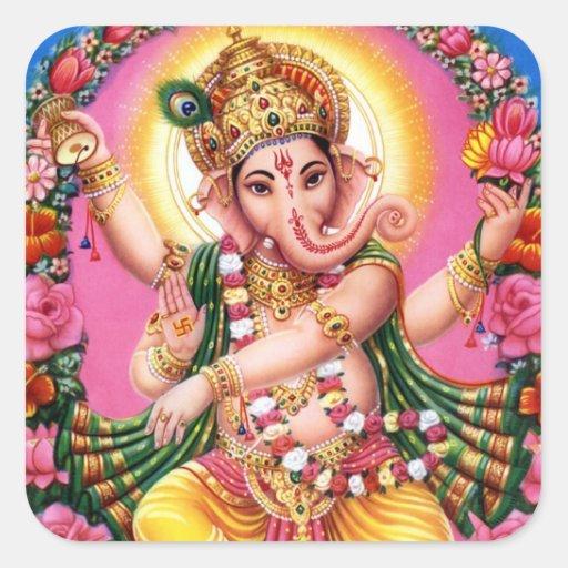 Señor Ganesha del baile Pegatina Cuadrada