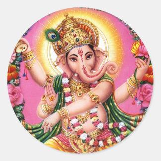 Señor Ganesha del baile Pegatina Redonda