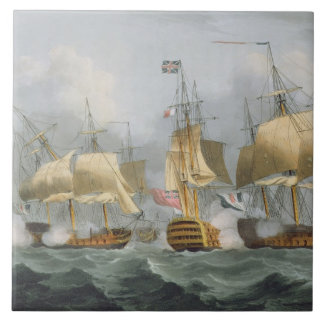 Señor Howe en la reina Charlotte, rompiendo el Ene Azulejo Ceramica