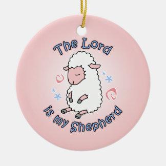 Señor Is My Shepherd Ornament Adorno Navideño Redondo De Cerámica