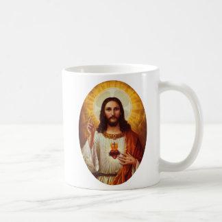 Señor Jesucristo y el corazón sagrado Taza Básica Blanca