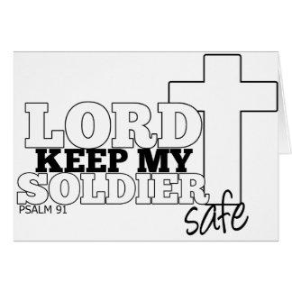 Señor Keep My Soldier Safe Tarjeta De Felicitación