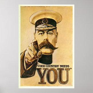 Señor Kitchener Poster Print del vintage