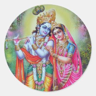 Señor Krishna y Radha Etiquetas Redondas