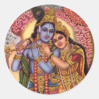 Señor Krishna y Radha Pegatina Redonda