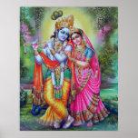 Señor Krishna y Radha Póster