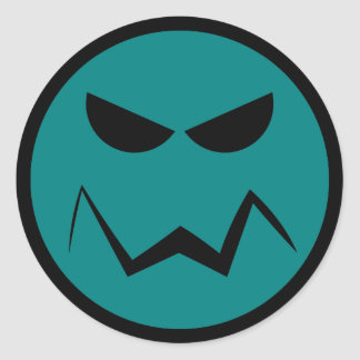 Señor malo Smiley Face Sticker Pegatina Redonda