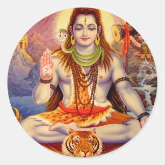 Señor Shiva Meditating Sticker Pegatinas Redondas