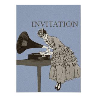 señora 1900's y fonógrafo invitación 13,9 x 19,0 cm