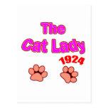 señora 1924 del gato tarjeta postal