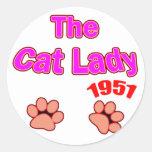 señora 1951 del gato pegatina redonda