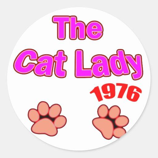 Señora 1976 del gato pegatina redonda