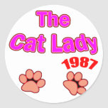 Señora 1987 del gato pegatina redonda