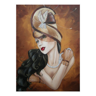 Señora 1 del gorra póster
