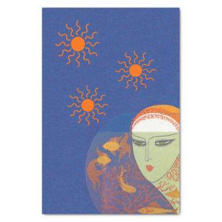 Señora abstracta Behind Gold Fish Bowl Sun del Papel De Seda Pequeño