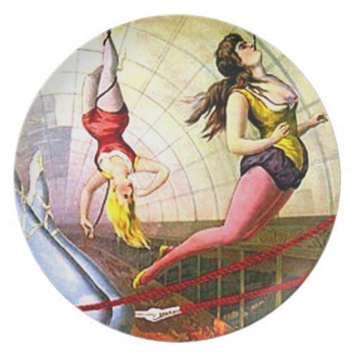Señora Act Poster Wall Art del trapecio del circo  Plato Para Fiesta