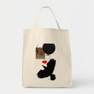 señora afroamericana hermosa bolsa tela para la compra