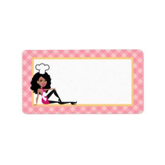Señora afroamericana Label del panadero Etiqueta De Dirección