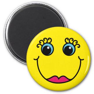Señora amarilla Smiley Face Imán Redondo 5 Cm