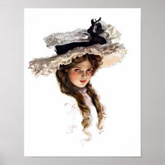 Señora americana del vintage con el gorra blanco póster