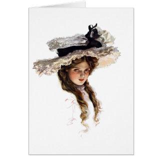 Señora americana del vintage con el gorra blanco tarjeta de felicitación