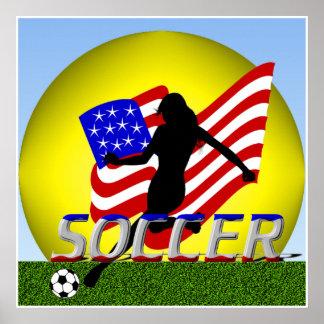 Señora americana Soccer Poster del chica
