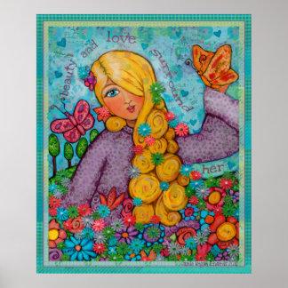 Señora angelical rubia Art Poster de la belleza y
