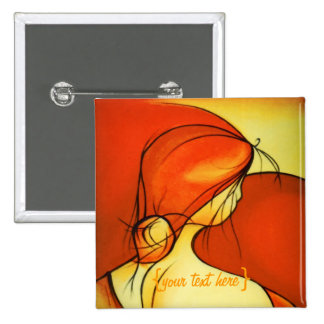 Señora anhelante In Orange Pin Cuadrada 5 Cm