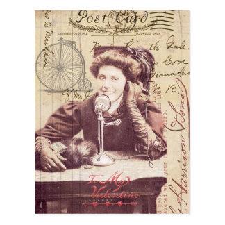 Señora Antique Style Collage del el día de San Val Postales