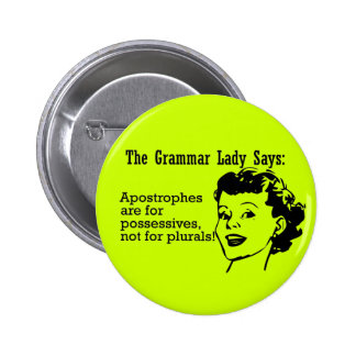 Señora Apostrophes Buttons de la gramática Pins