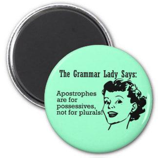 Señora Apostrophes Magnets de la gramática Imán Redondo 5 Cm