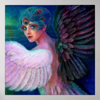 Señora Art Dark Angel de la pluma del pavo real de Impresiones