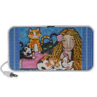 Señora Art Doodle Speaker del gato Mini Altavoces