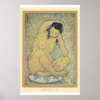 Señora asiática clásica del japonés del arte póster
