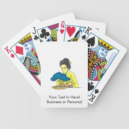 señora asiática que tiende el árbol bluish.png de  baraja cartas de poker