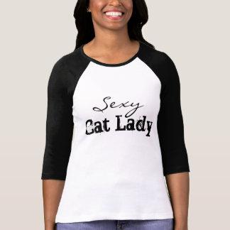 Señora atractiva Tee del gato Playera