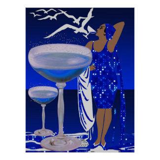 SEÑORA azul Champán de la diva del ART DÉCO Póster