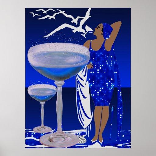 SEÑORA azul Champán de la diva del ART DÉCO Poster
