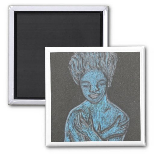 Señora azul Magnet_Abstract Art Gift Imán De Nevera