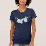 Señora azul T-shirt del unicornio del dibujo anima Camiseta
