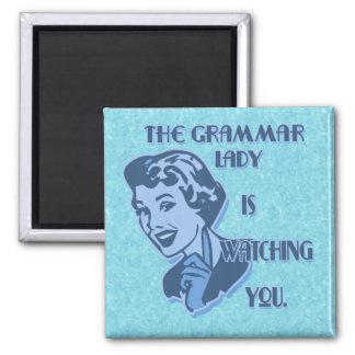 Señora azul Watching Magnets de la gramática Imán Cuadrado