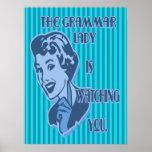 Señora azul Watching Posters de la gramática
