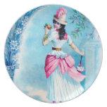 Señora azul y rosada del vintage platos