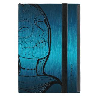 Señora azulverde y negra metálica Sugar Skull iPad Mini Funda