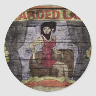 Señora barbuda Vintage Canival Banner Pegatina Redonda