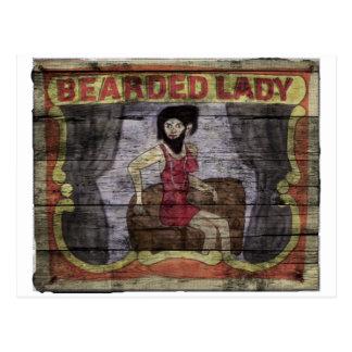 Señora barbuda Vintage Canival Banner Postales