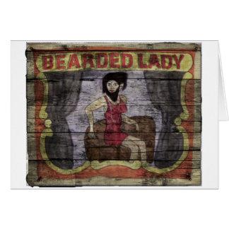 Señora barbuda Vintage Canival Banner Tarjeta De Felicitación