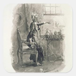 Señora Betsy Trotwood, de 'Charles Dickens: Un Pegatina Cuadradas