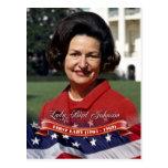 Señora Bird Johnson, primera señora de los E.E.U.U Postales